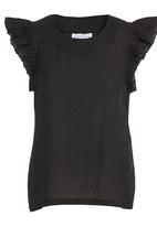 adam&eve; - Frill-sleeve Top Black