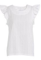 adam&eve; - Frilled-sleeve top Black/White