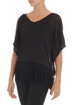 SASS - Speak Easy fringe T-shirt Black