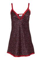 edge - Heart-printed chemise Red