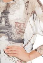 Cheryl Arthur - Tunic with map print Black/White
