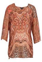 Cheryl Arthur - Paisley-print tunic Orange