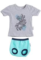 Petit Pois - Printed T-shirt with bloomer set Multi-colour