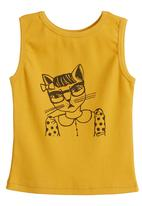 Petit Pois - Vest with cat print Yellow