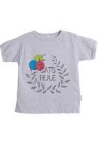 Petit Pois - Melange T-shirt with cats rule print