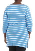 Megalo - Boat-neck top Mid Blue