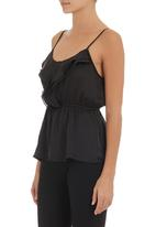 edit - Strappy cami with frill Black