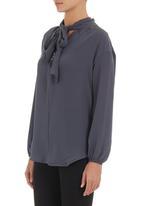 edit - Pussy-bow blouse Dark Grey