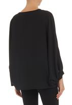 edit - Silk cape shirt Black
