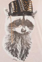 GUESS - Raccoon logo T-shirt Pink