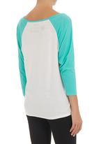 RVCA - 3/4 Raglan T-shirt  Blue/White