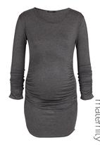 Astrid Ray - Gathered sweater with ruched sides Grey