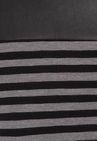 edge - Tunic with pleather trim Black/White