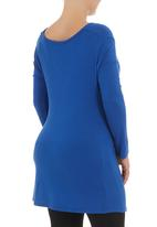 Astrid Ray - Cowl-neck knit tunic  Cobalt