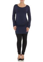 Astrid Ray - Gathered sweater with ruched sides  Navy