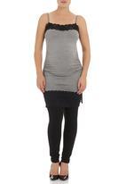 Astrid Ray - Longer-length lace cami Grey