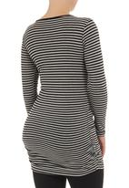 Cherry Melon - Long-sleeve top with side gauge detail  Multi-colour