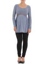 Cherry Melon - Belted tunic top pale Blue