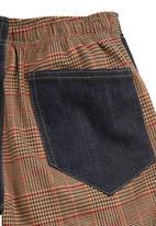 Eco Punk - Denim and tweed pants Blue