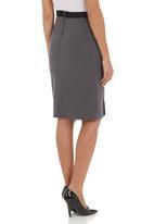 adam&eve; - Pencil skirt with slit dark Grey