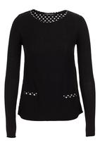 G Couture - Mixed fabric top Black