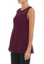 STYLE REPUBLIC - Lace peplum top Red