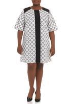 edit - Colourblocked shift dress Black & White