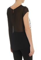 edit - Lace inset boxy top Black/White