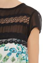 edit - Jewel-print lace inset boxy top Multi-colour