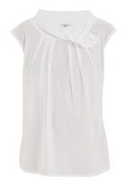 Ilan - Blouse with bow and pleat detail White