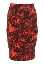 STYLE REPUBLIC - Printed scuba skirt Red