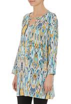 edit - Printed cotton tunic Turquoise