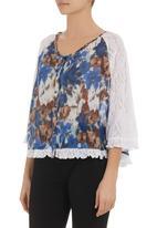 edit - Brushstroke-print cape blouse Multi-colour