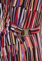 edit - Striped side-gathered wrap top Multi-colour