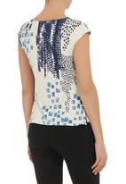 edit - Printed side-gathered wrap top Navy