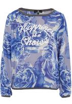 STYLE REPUBLIC - Rose-print chiffon top Blue