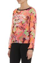 STYLE REPUBLIC - Floral-print chiffon top Coral
