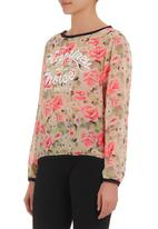 STYLE REPUBLIC - Floral-print chiffon top Mid Pink