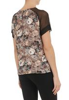 STYLE REPUBLIC - Floral-print raglan mesh top Mid Brown