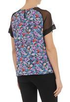 STYLE REPUBLIC - Floral-print raglan mesh top Black