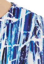 adam&eve; - Paint stroke boxy top Blue/White