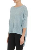 Phoenix - Draped-back knit top Blue