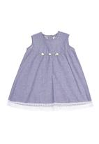 Just chillin - Baby dress with lace hem Mid blue