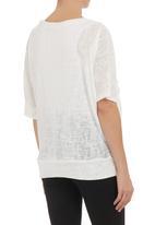 Annabella - Fancy knit top White