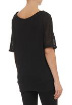 Annabella - Fancy knit top Black