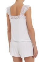 edge - Lace onesie with cap sleeves  Milk