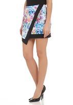 STYLE REPUBLIC - Digital floral-print asymmetrical mini skirt Multi-colour