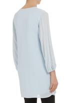 STYLE REPUBLIC - Cotton bell-sleeve dress Pale Blue