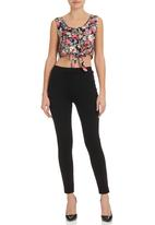 STYLE REPUBLIC - Rose-print Matching Sleeveless Tie Top Black