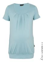 Cherry Melon - Pleated Short-sleeve Top Blue